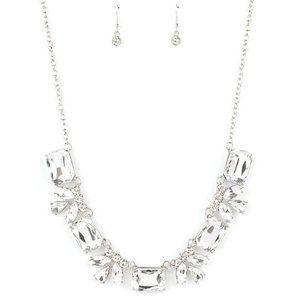 Long Live Sparkle - White Necklace Earring Set